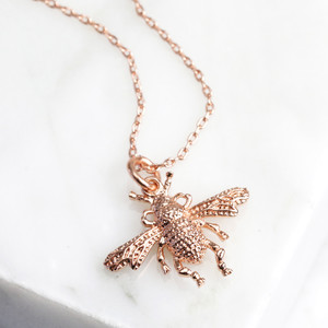 New Small Bee Necklace - Rose Gold