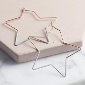 Rose Gold & Grey Star Hoop Earrings