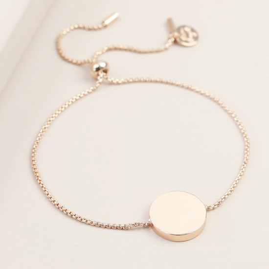 Box Chain and Disc Bracelet - Rose Gold