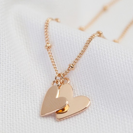 Falling Double Hearts on Satellite chain necklace in rose gold