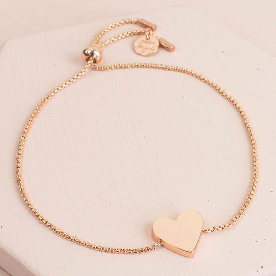 Box Chain Rose Gold Heart Bracelet