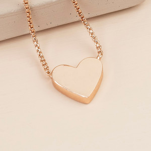 Box Chain and Heart Pendant Necklace - Rose Gold