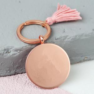 Rose Gold Matt Disc Keyring with Pink Tassel