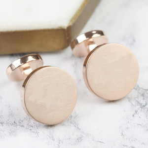 Rose Gold  Brushed Double Disc Cufflinks