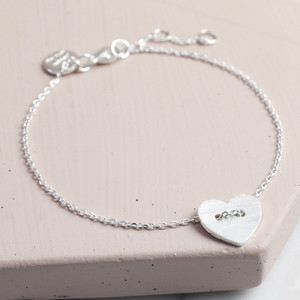 Silver Button Heart Bracelet