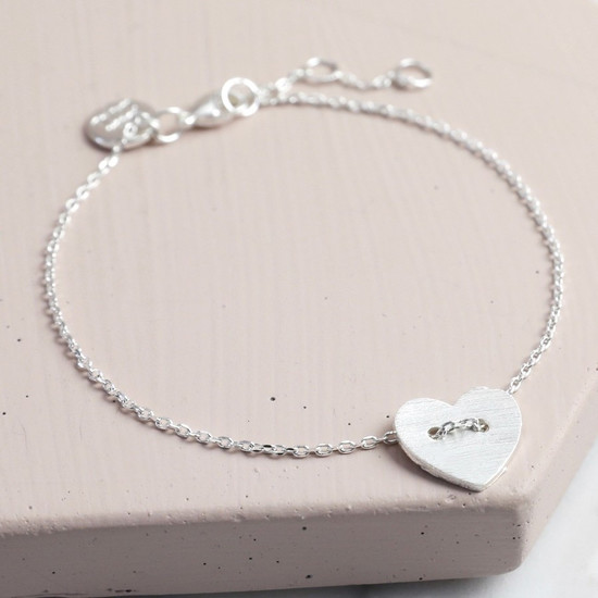Silver Button Heart Bracelet