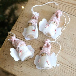 Set of 4 Handcrafted Pink Felt Angel Hanging Decorations