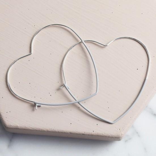 Silver & Grey Heart Hoop Earrings