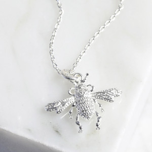 New Small Bee Necklace - Silver