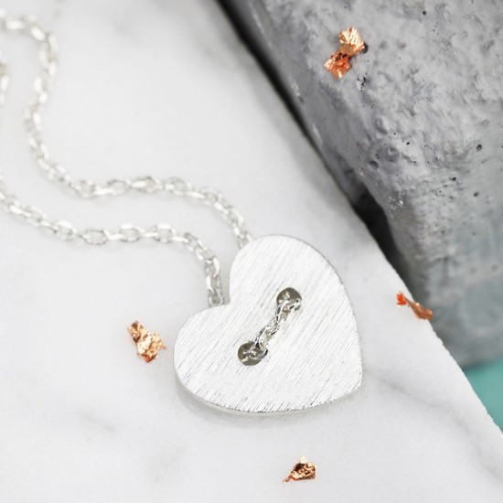 Silver Button Heart Necklace