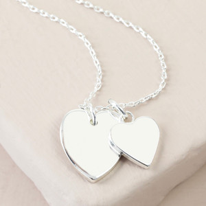 Handmade Silver Double Heart Necklace