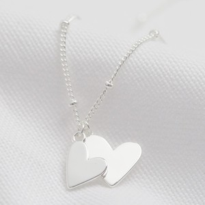 Falling Double Hearts on Satellite chain necklace in silver plate
