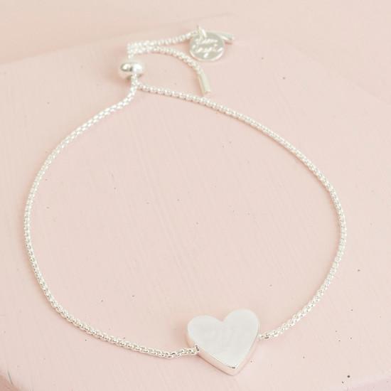 Box Chain Silver Heart Bracelet