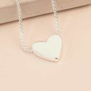 Box Chain and Heart Pendant Necklace - Silver