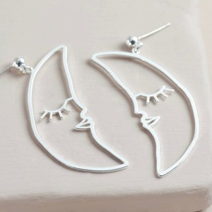 Sleeping Crescent Moon Face Drop Earrings in Silver