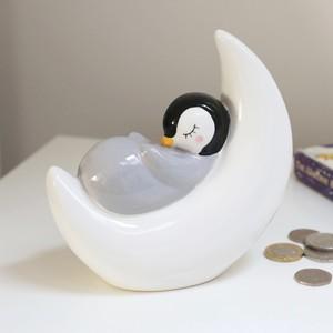 Sleeping Penguin Moon Money Box