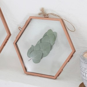 Small Hanging Hexagon Copper Photo Frame