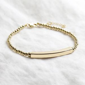 Gold beaded bar bracelet 4mm tube (wider)