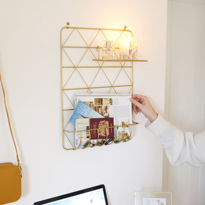 Gold Metal Wall Storage with Shelf and Pegs
