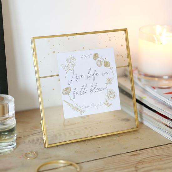 Gold Splatter Glass Photo Frame