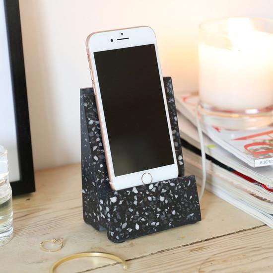 Black Terrazzo Phone Stand