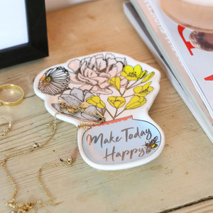 Wildflower Vase Quote Trinket Dish