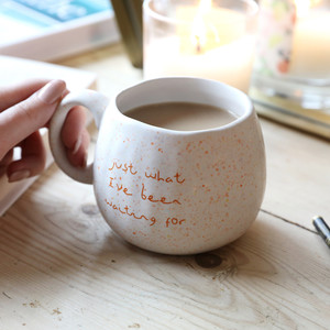 White Speckled 'What I've Been Waiting For' Mug