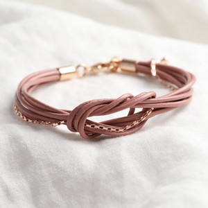 Dusky Pink Leather knotted bracelet with rose gold chain