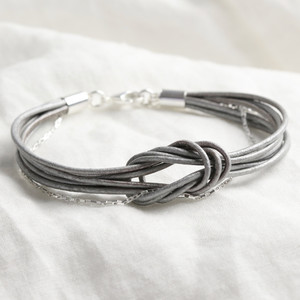 Grey Leather knotted bracelet with silver chain