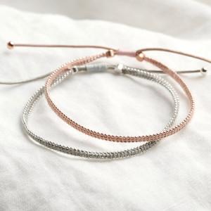 Pink and Rose Gold Skinny Handmade Friendship Bracelet