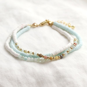 White and Aqua Triple Clay Beaded Bracelet