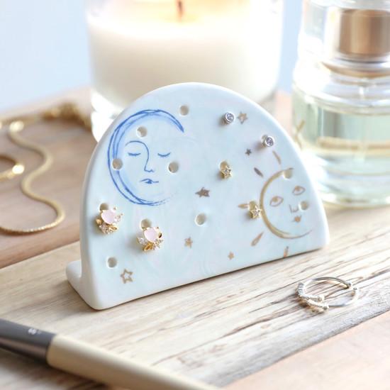 Sun and Moon Ceramic Earring Holder