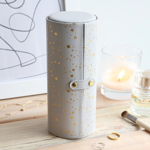Grey Gold Stars Round Travel Jewellery case
