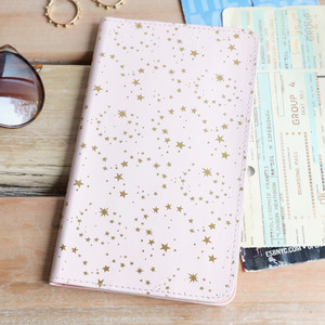 Travel wallet - pink with gold stars