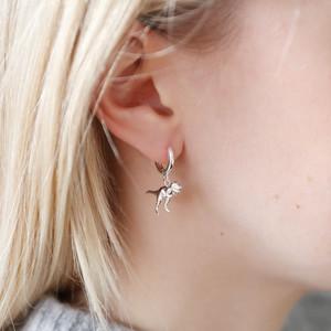 Silver tiny hoop dinosaur earrings