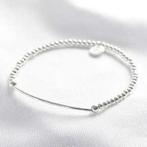 Cubic Zirconia Initial Beaded Charm Bracelet in Silver - O