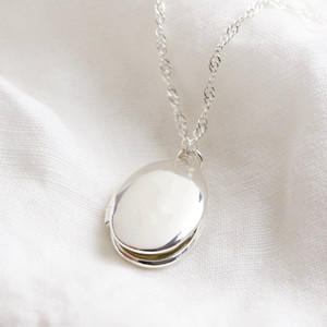 Oval Locket Necklace - Silver
