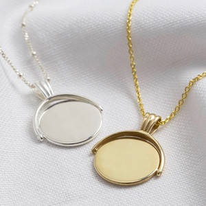Spinning disc necklace small gold plated sterling silver