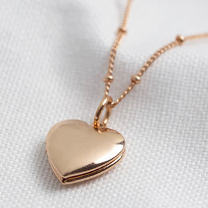 Heart Locket Necklace - Rose Gold