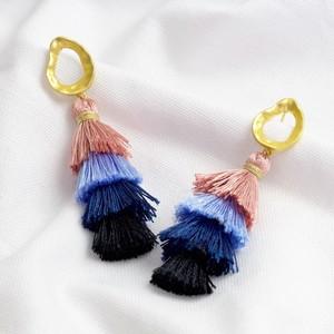 Gold Triple Layer Pink & Blue Tassel Earrings