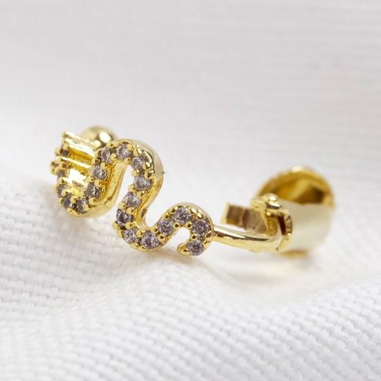 Gold Snake crystal ear cuff