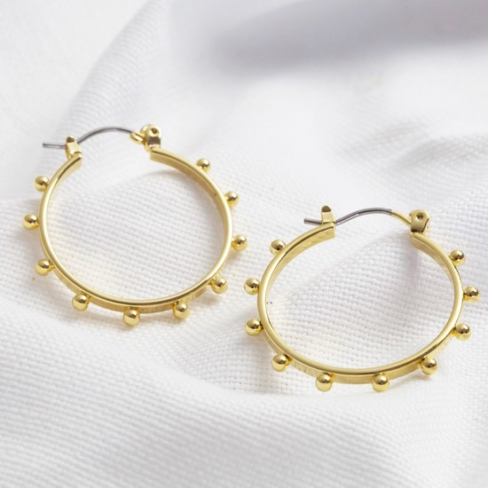 Gold Bubble Edge Hoop Earrings