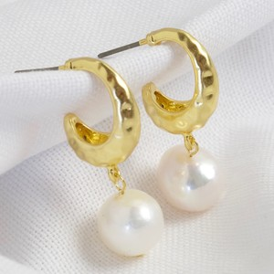 Gold organic shape hoops with fresh water pearl drop