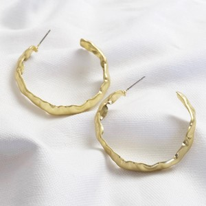 Worn Gold Organic Shape Large Hoops