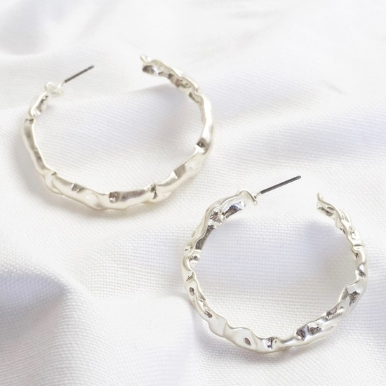 Worn Silver Organic Shape Large Hoops
