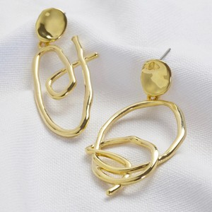 Gold Scribble Art Mismatch Earrings
