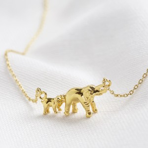Mummy and Baby Elephant Necklace in Silver