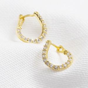 Gold Sterling Silver Curved Crystal Hoop Earrings