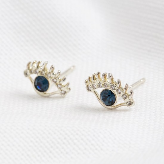Eye earrings in same colours as necklace gold and blue