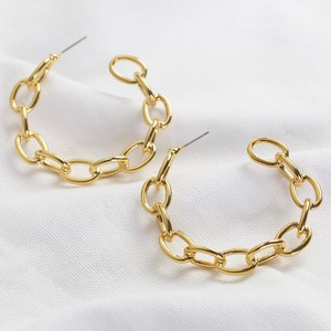 Large Chain Link Statement Hoops in Gold